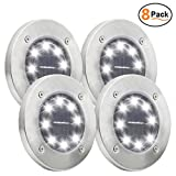 Solar Powered Ground Lights, 8 LED Waterproof Solar Path Lights | Solar Garden Light | Dark Sensing Landscape Lights for Lawn Pathway Yard Driveway Patio Walkway Pool Area(White, 8 Pcak)