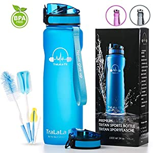 TraLaLa Fit Sports Water Bottle - 32oz 1 liter Large, Fruit Infuser, Fast Flow, Flip Top Leakproof and Durable, Lid One Click Open, BPA Free Tritan Plastic Water Bottle for Fitness, Outdoor, Gym, Kids