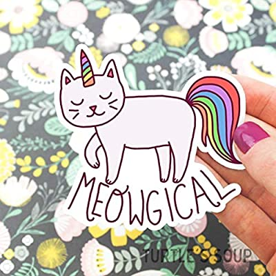 Cat Fan related Products Funny Cat Sticker, Meowgical, Unicorns, Magical, Rainbow, Teacher Gift, Flask Decal, Computer Sticke [tag]
