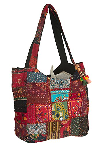Large Shoulder Bag Red Quilted Embroidered Market Shop School Laptop Diaper Picnic Comfortable Roomy by Tribe Azure Fair Trade