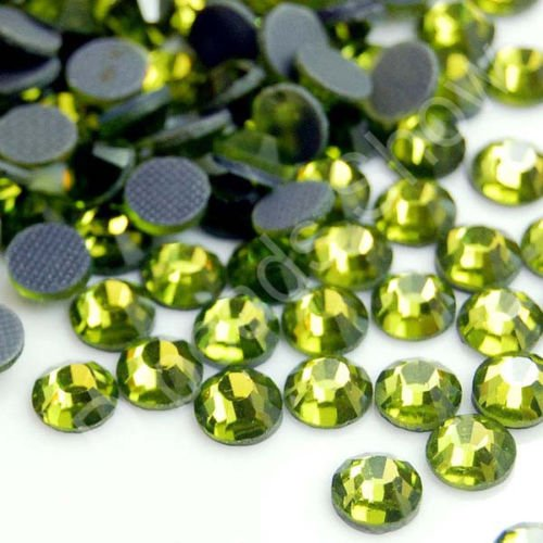 1440pcs DMC Iron On Hotfix Crystal Rhinestones 10 Gross 27 Colors and 4 Sizes (4mm (SS16), (Olivine Rhinestone)