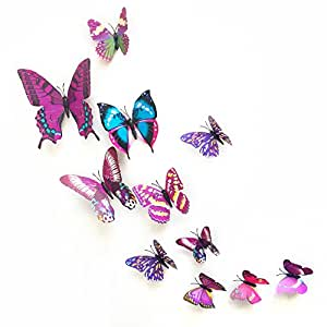 Annong 12PCS 3D Color Butterfly Wall Stickers with Adhesive Art Decal Satin Paper Butterflies Home DIY Decor Removable (Purple)