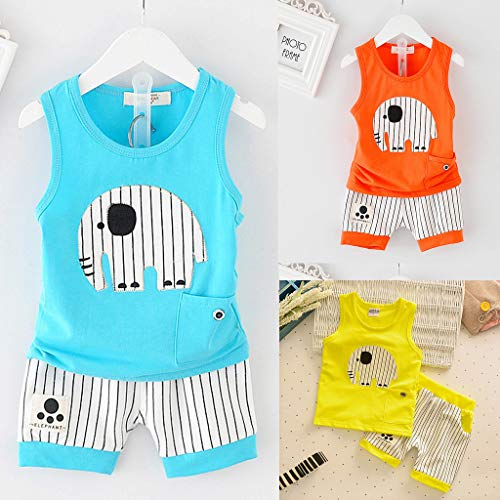 Kids Boy Short Vest Suit, Baby Summer O-Neck Cartoon Stripe Shorts Sport Outfits Clothes Set For 0-3 Years (6-12 Months, Blue) by Hopwin Baby Boys Suits (Image #4)