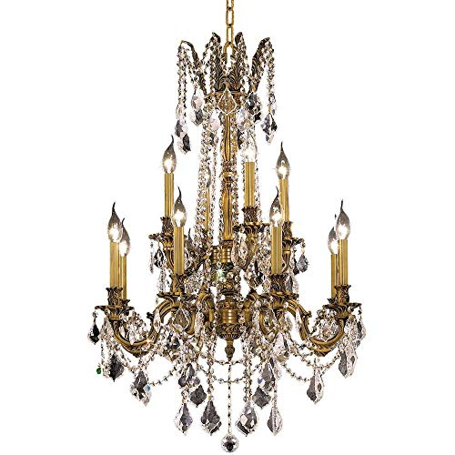 Elegant Lighting 9212D24FG-GT/RC Royal Cut Smoky Golden Teak Crystal Rosalia 12-Light, Two-Tier Crystal Chandelier, Finished in French Gold with Smoky Golden Teak Crystals, 24