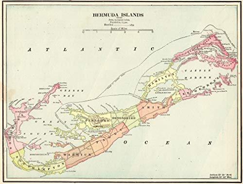 Original Antique Wall Map - Original Antique Map of Bermuda 1900 Vintage Bermuda Map Not a Reprint Gallery Wall Art Birthday Wedding Gift for Traveler #1280