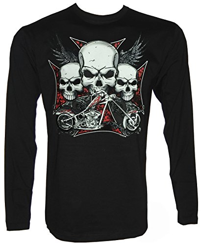 Iron Cross Choppers Skull Langarm T-Shirt