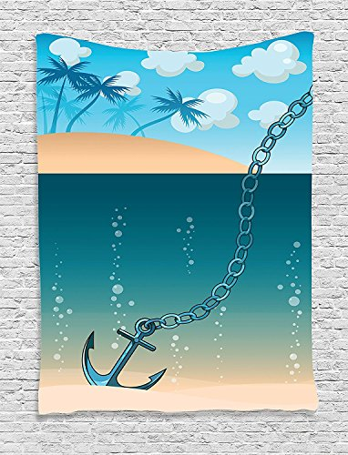 Tropic Monogram Blue - Supersoft Fleece Throw Blanket Anchor Collection Hawaiian Golden Beach Scenery with Palms and Ship Anchor in the Water Near Tropic Island Blue Cream