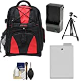 Precision Design Multi-Use Laptop/Tablet Digital SLR Camera Backpack Case (Black/Red) with LP-E8 Battery & Charger + Tripod + Accessory Kit for Canon Rebel T3i & T4i