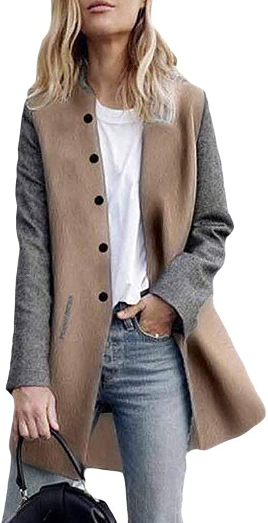 WUAI-Women Long Sleeve Open Front Cardigan Jackets Lightweight Color Block Button Blazer Suit Jackets Coats: Clothing