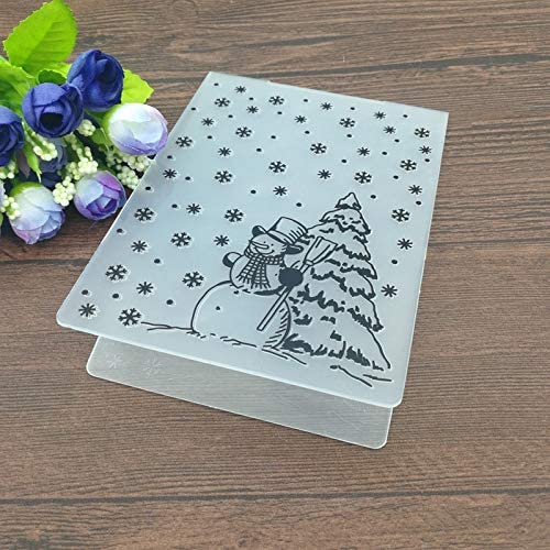 BUZHI Crafts Merry Christmas Plastic Embossing Folders for Card Making Scrapbooking and Other Paper Crafts,4.13x5.79in