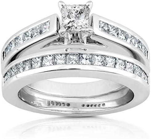 Kobelli Diamond Engagement Ring & Wedding Band Set 1 1/3 Carat (ctw) in 14K White Gold