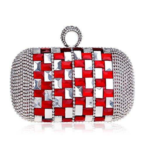 Bag Women's Clutch Exquisite Cross Red Dress Bridal Evening Diamond Bag Bag Handbag Shoulder Evening Bag OrwOg
