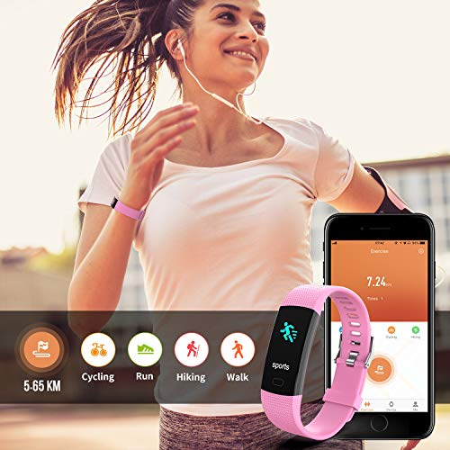 Fitness Tracker HR, Y1 Activity Tracker Watch with Heart Rate Monitor, Pedometer IP67 Waterproof Sleep Monitor Step Counter for Android & iPhone (Pink) by Akuti (Image #2)
