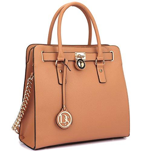 dasein-large-saffiano-leather-tote-briefcase-satchel-shoulder-bag-with-chain-shoulder-strap-2553-bro