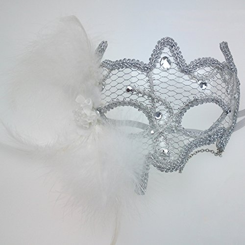 Nati Women's Masquerade Mask Party Costume Lace Feather Color White