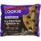 OATMEGA Protein Cookie, Chocolate Chip, Protein Cookies, Healthy Snacks, Gluten Free Protein Cookies, Whey Protein Cookies, 2.8 Ounce (12 Count)