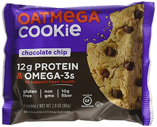 OATMEGA Protein Cookie, Chocolate Chip, Protein Cookies, Healthy Snacks, Gluten Free Protein Cookies, Whey Protein Cookies, 2.8 Ounce (12 Count) (Best Oats For Cookies)