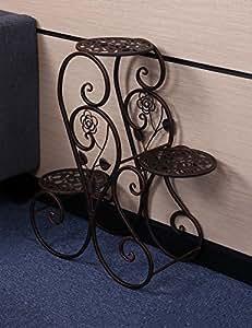 LLDHUAJIA LIANGLIANG Estante de Flores Plancha de Hierro 3-Layer Flowerpot Rack Estantería de Interior y Exterior Rural Americana de la Planta (Color : Brass, Tamaño : 63cm*24cm*68cm)