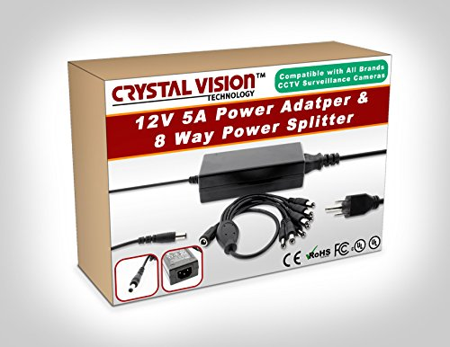Crystal Vision Premium DC 12V 5A Power Supply Adapter + 8 Split Power Cord For CCTV Security Camera DVR and LED, UL listed.