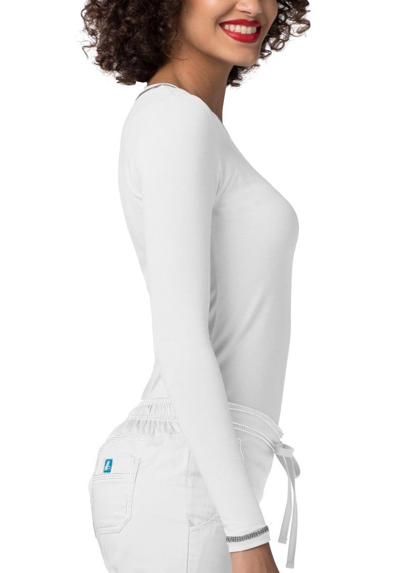 Adar Womens Comfort Long Sleeve Fitted T-Shirt Underscrub Tee- 3400 - White - L by Adar Uniforms (Image #3)