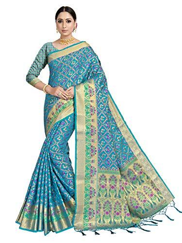 VARDHA SAREES 여성용 BANARASI 실크 PATOLA SARI | 인도 민족 결혼식 짠 선물 SAREE 비 스티치 블라우스