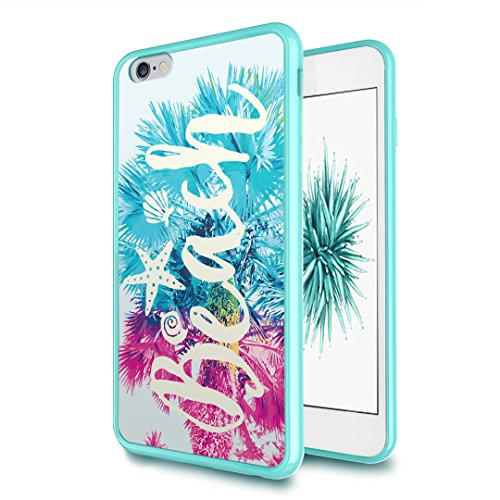 iPhone-6S-Plus Case, iPhone-6-Plus Case, Capsule-Case Hybrid Slim Hard Back Shield Case with Fused TPU Edge Bumper (Teal Green) for iPhone 6S Plus / iPhone 6 Plus - (Beach - Capsule Case