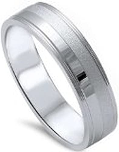 5MM Mens Diamond Wedding Band in Sterling Silver