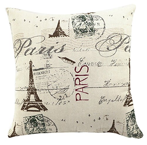Multi-sized Eiffel Tower Printing Cushion Cover LivebyCare Linen Cotton Cover Throw Pillow Case Sham Pattern Zipper Pillowslip Pillowcase For Hotel Decorative Decor Chair Sofa (Crafts Bed Bolster)