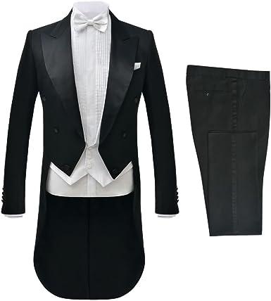 vidaXL Traje FRAC White Tie Hombre 2 Piezas de Negro Talla 52 ...