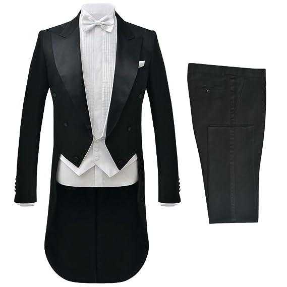 vidaXL Traje de Vestir Corbatín Blanco Hombre 2 Piezas Color Negro Talla 46-56