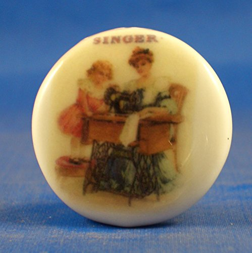 Porcelain China Collectable Button -- Singer Mother & Daughter