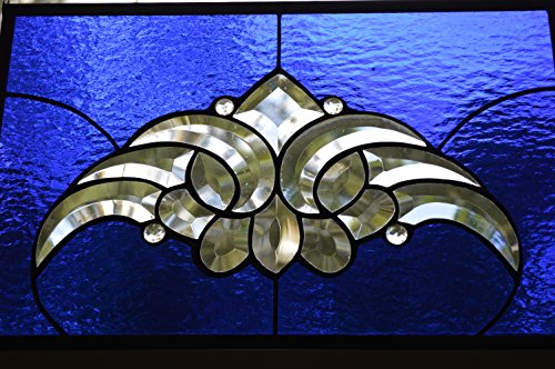 (Stunning Cobalt Stained Glass Panel, Jewels and Beveled Cluster, Metal Frame..Custom Made..Perfect 16 1/2