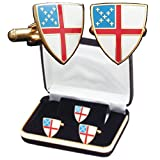 B-42-C Episcopal Shield Cuff Link Set with Tie Tack Pin and Lapel Pin
