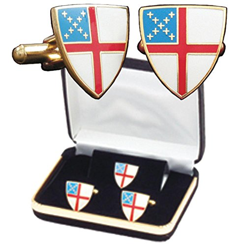B-42-C Episcopal Shield Cuff Link Set with Tie Tack Pin and Lapel Pin by Terra Sancta Guild