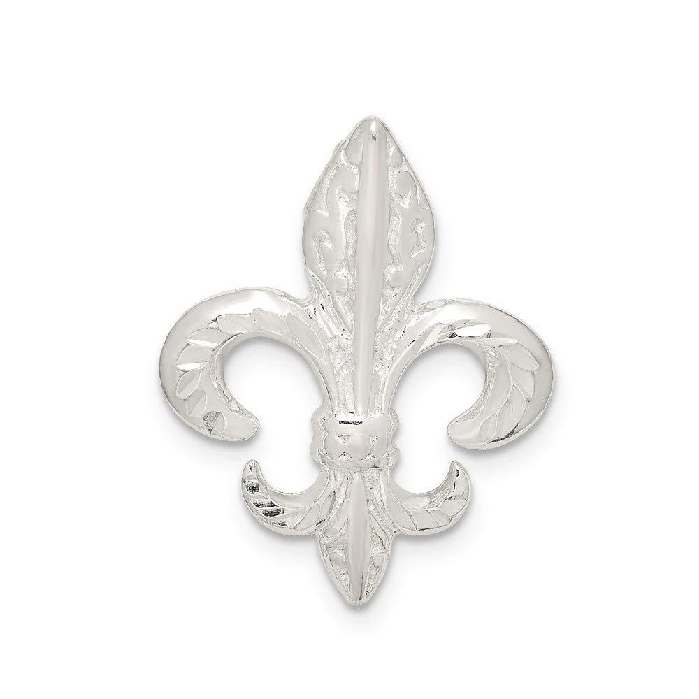 Sterling Silver Diamond-Cut Fleur De Lis Slide
