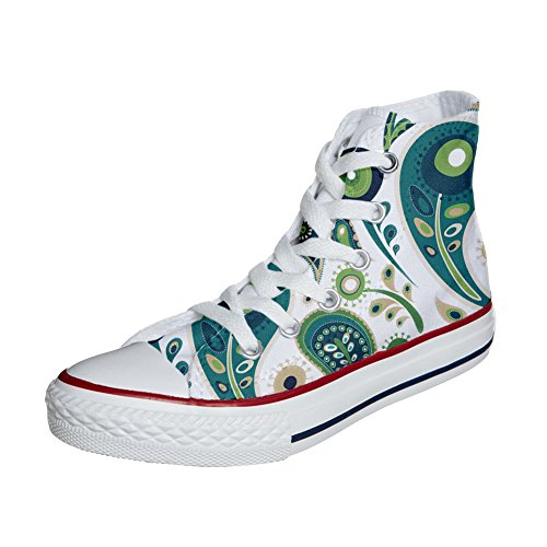 Paisley Green Mys Personnalisé Converse White 1 Star produit Et All Unisex Hi Imprimés Handmade Chaussures 7O7Cqw