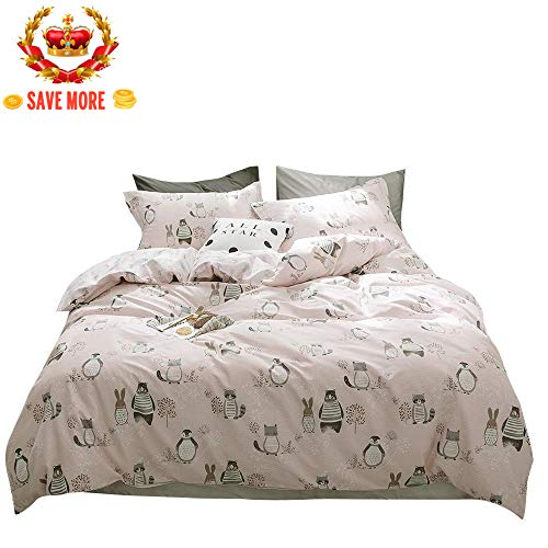 BuLuTu Rabbit Bear Raccoon Print 3 Pieces Kids Girls Duvet Cover Set Queen Pink,Animal 100% Cotton Bedding with Zipper Closure and Ties,1 Queen Duvet Cover + 2 Pillow Shams,No Comforter