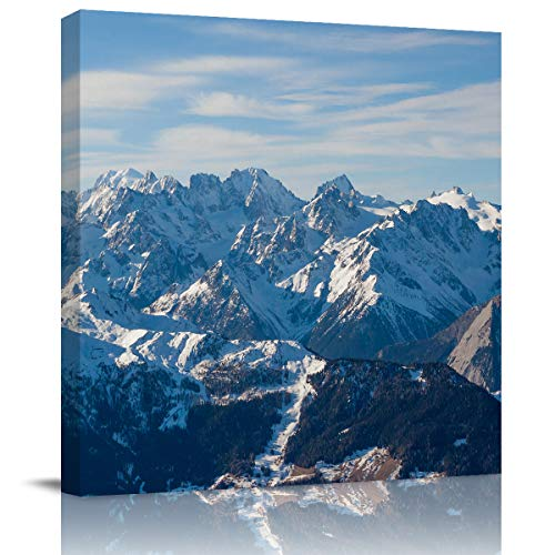 DOME-SPACE Canvas Wall Art 8x8 inch Alps Mountain with Snow Covered Peaks Top Misty Hill Prints Morden Artwork Framed for Home Decoration Ready to Hang