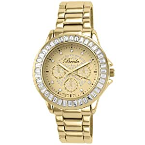Breda  Women's 7225-Gold Gabrielle Baguette Rhinestone Encrusted Dress Watch