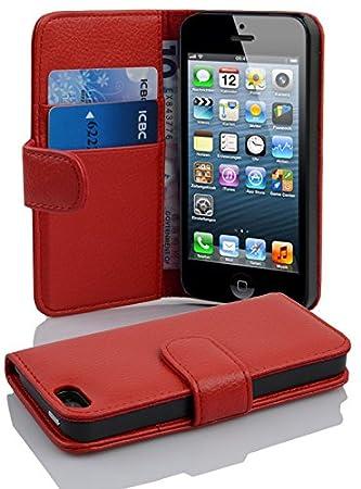 Cadorabo Hülle für Apple iPhone 5 / iPhone 5S / iPhone SE - Hülle in INFERNO ROT – Handyhülle mit Kartenfach aus struktrierte