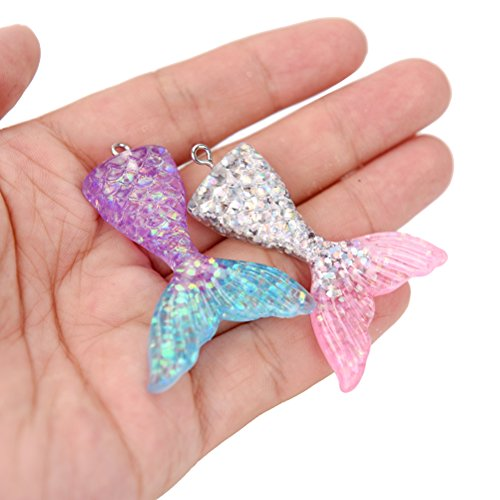 JUNKE 20-Pack (10 Colors) Mermaid Tails Glitter Charm Pendants Assorted Color Mermaid Tail Pendant Charms Jewelry Findings for Themed Party Supplies, DIY Necklace, Keychain, Phone Case Accessories