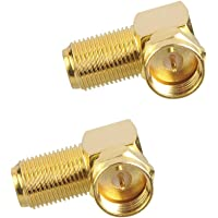 VCE (2-Pack) Gold Plated Right Angle F-Type Coaxial RG6 Adapter