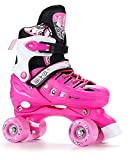 Kid Quad Roller Skates adjustable ABEC -7 , L , pink