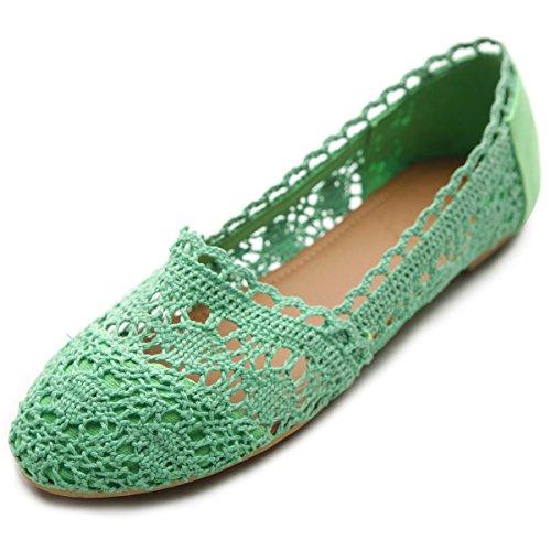 Ollio Womens Shoe Lace Ballet Breathable Flat ZM1023(7.5 B(M) US, - Green Footwear Kelly