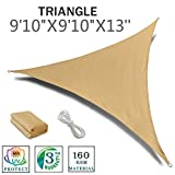 SUNNY GUARD 9'10'' x 9'10'' x 13' Sand Triangle Sun Shade Sail UV Block for Outdoor Patio Garden