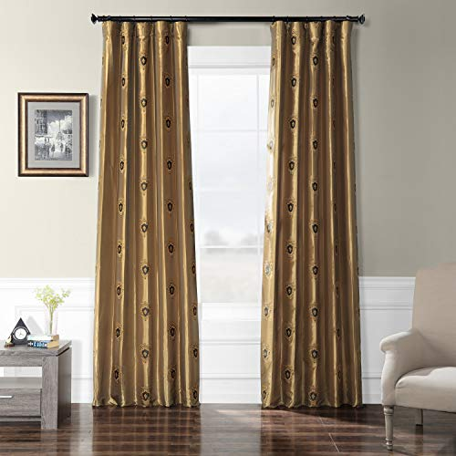 (HPD Half Price Drapes EFSCH-18057-84 Embroidered Faux Silk Taffeta Curtain 50 x 84 Zelda Gold)