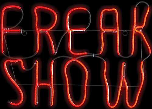 Vintage Style Light Glow Freak Show Sign Horror Party Halloween Decoration]()