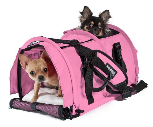 Sturdibag Large Divided Pet Travel Carrier Carry 2 Pets in 1 Carrier, Airline,aaa Approved Pet Travel Carrier Tote, Size Large 18''l X 12''w X 12''h (Prior to Flexing Down) (Soft Pink) by SturdiBag Large Divided Per Carrier