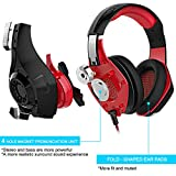 GM-1 Gaming Headset for New Xbox One PS4 PC Tablet Cellphone, Stereo LED Backlit Headphone with Mic by AFUNTA-Red