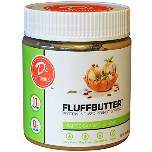 No Cow Peanut Fluffbutter, Salted Caramel Sundae, 10g Plant Based Protein, Low Sugar, Dairy Free, Gluten Free, Vegan, 10 Ounce, White Chocolate Mouse